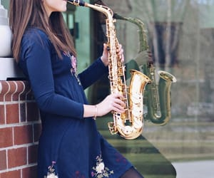 girl, music, and sax image