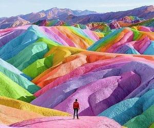 colours, landscape, and rainbow image