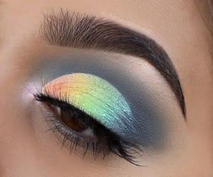 beauty, eye makeup, and rainbow image