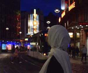 back, hijab, and city image