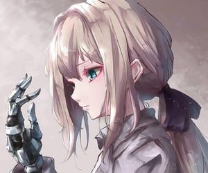 anime girl, ponytail, and metalhand image