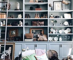 bookshelves, home decor, and interior decorating image