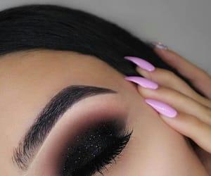 eyebrows, pink, and smokey eye image