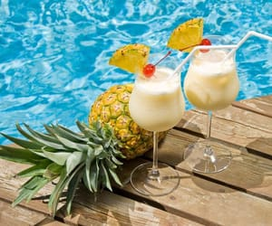 cocktail, pineapple, and pool image