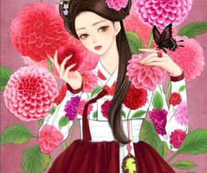 art, korea, and hanbok image