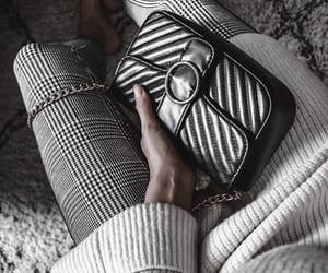fashion, grey jeans, and white sweater image