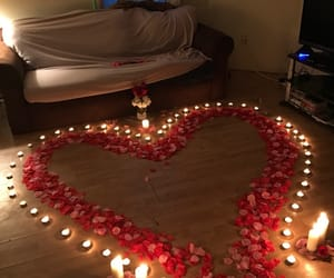 romantic, candles, and flowers image