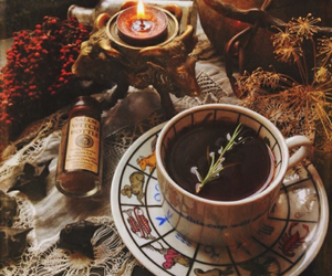 tea, autumn, and witch image