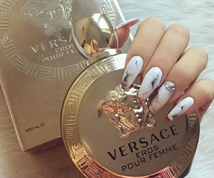 nails, Versace, and gold image