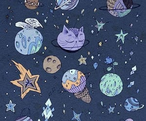 wallpaper, cat, and planets image