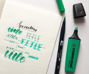 green, lettering, and markers image