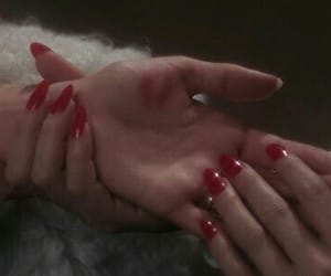 red, nails, and hands image