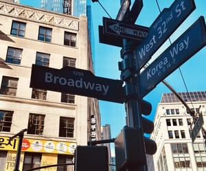 blue, broadway, and new york image