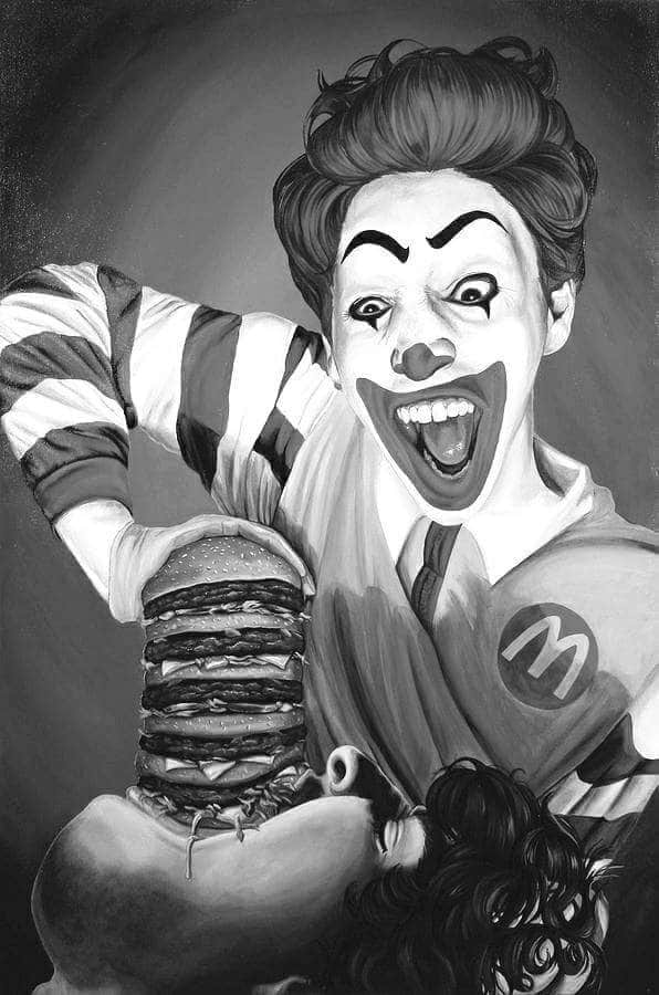 black and white, burger, and McDonald's image