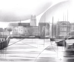 art, cityscape, and cubism image