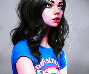 art, drawing, and black hair girl image