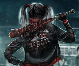 harley quinn, negan, and the walking dead image