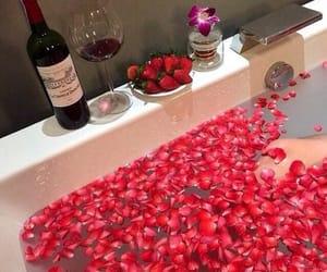bath, rose, and strawberry image
