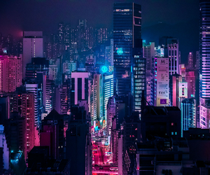 city, neon, and light image