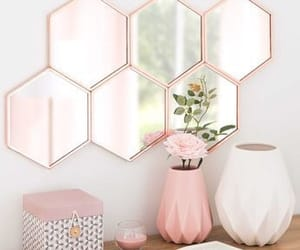 pink, mirror, and decor image