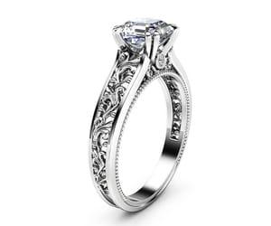 diamond ring, etsy, and filigree ring image