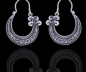 statement earrings, silver plated earrings, and antiqued brass earring image