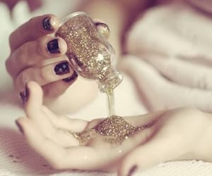 glitter, golden, and hands image