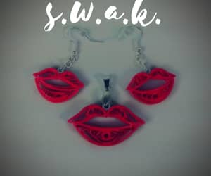 quilling, red lips, and unique jewelry image
