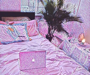 bed, computer, and purple image