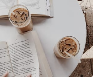 book, coffee, and drink image