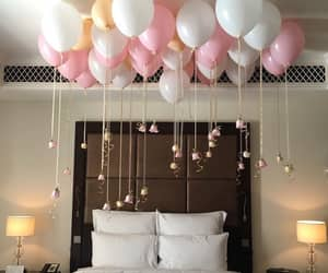 balloons, pink, and bedroom image