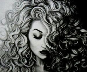 curly, dibujo, and cabello rizado image