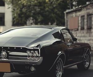car, mustang, and black image