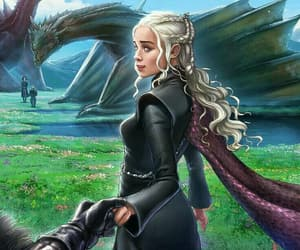 game of thrones, dragons, and jon snow image