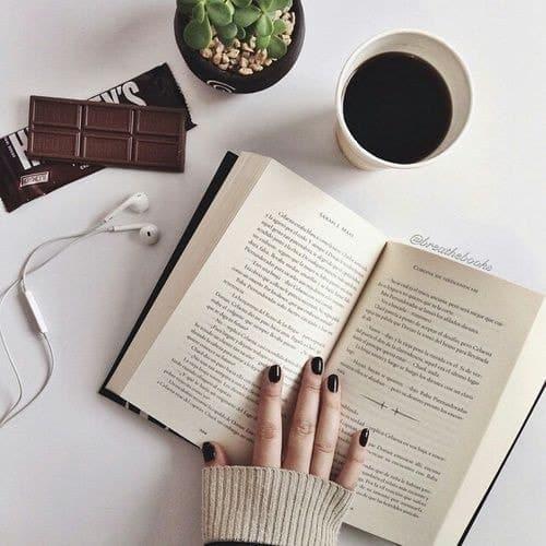 book, coffee, and chocolate image