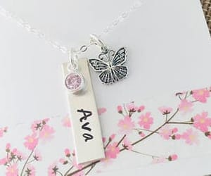 etsy, sterling silver, and birthstone necklace image