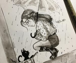 art, cat, and rain image