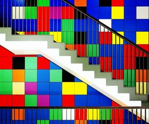building, stairway, and colorful image