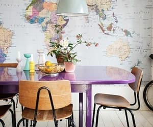 dining, purple, and table image