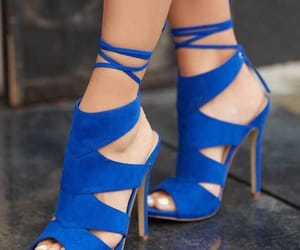 blue, blue heels, and heels image