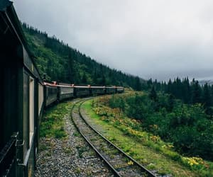 train, travel, and wood image