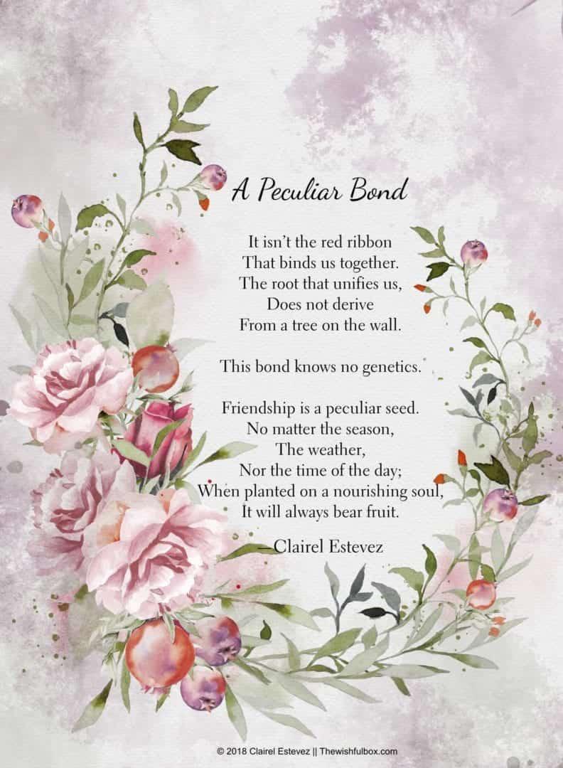 Friendship in english poem on 18 Short