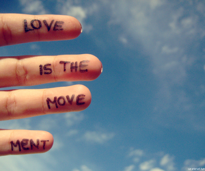 love, sky, and fingers image