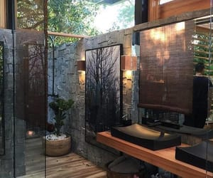 bathroom, interior design, and wood colors image