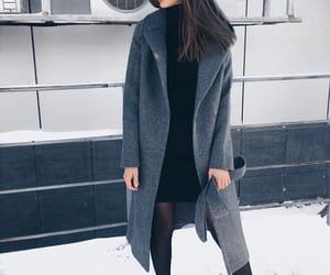 black, snow, and coat image
