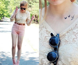 birds, pink, and fashion image