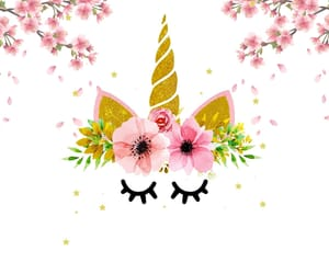 unicorn, flowers, and wallpaper image