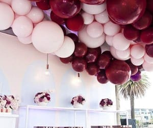 balloons, party, and red image