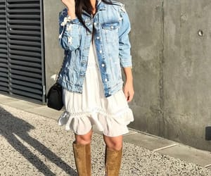 suede boots, bohemian, and dress image