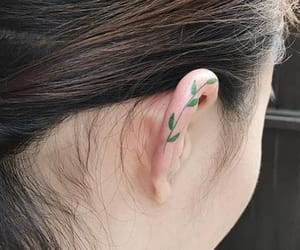 ear tattoo, green, and helix image